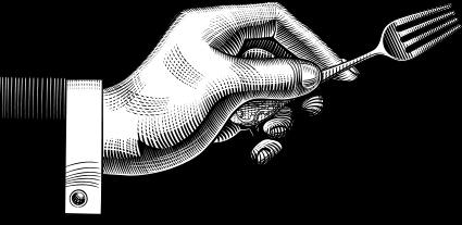 garfo na mão